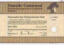 Deutsche Continental Rückversicherung Hannover DM Aktie 1983 SCOR Versicherung