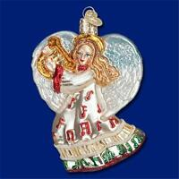 TAKE NOTE ANGEL W/ HARP MUSICAL OLD WORLD CHRISTMAS GLASS ORNAMENT NWT 10214