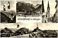 Oberstdorf im Allgäu Mehrbildkarte ~1950/60 Kirchstraße Nebenhornbahn Gipfel u.a