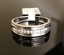 MENS DIAMONDS WEDDING BAND White GOLD Anniversary Ring Round Channel Setting
