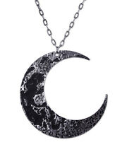 Restyle Goth Textured Antique Silver Luna Large Crescent Moon Necklace