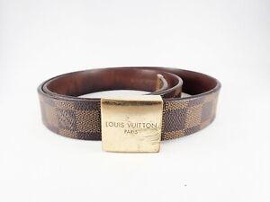 Authentic LOUIS VUITTON Damier Ebene Belt Carre M6802 Gold Tone Metal