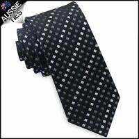 Black with Grey & White Squares Mens Skinny Tie