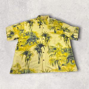 Tommy Bahama Button Up Shirt Hawaiian Short Sleeve Silk Tiger Yellow Men XXL