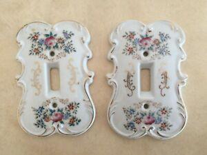 Vintage Arnart Creation #7310 Porcelain Single Light Switch Plate Floral Gilded