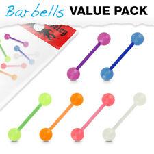 6 Colors Glow In The Dark Acrylic Ball Bio-Flex Barbells Tongue Rings Pack