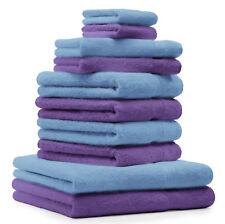 Lot de 10 serviettes Premium bleu clair et violet, 2 serviettes de bain, 4 servi