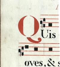 Manoscritto antico CAPOLETTERA Q in rosso ANTIFONARIO MUSICA 1850 ca. Drop Cap
