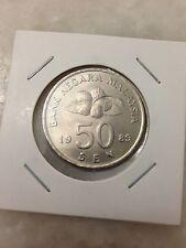 (JC) 50 (Fifty) sen (cents) 1989 Malaysia Second Series Bunga Raya coin - UNC/BU