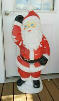"Vtg Empire Christmas Blow Mold Santa Claus Waving 40"" Blue Eyes Plastic Lighted"