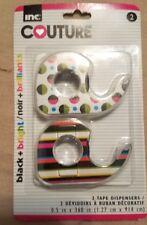 Decorative Tape w/Dispensers Black and Bright Stripes/Dots! NEW
