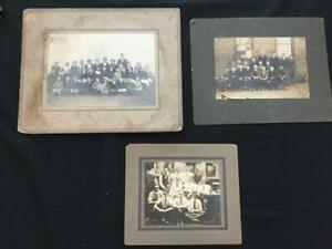 3 vintage group photo childrens school 1914 Palm PA cabinet matted fashion