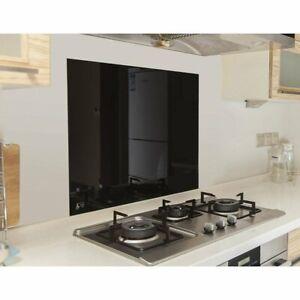 Toughened 60 X 75cm Black Glass Kitchen Splashback