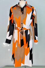 Vtg Lanvin Herringbone Graphic Shirtwaist Dress Orange Black Sheath Mod 60s 70s