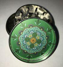 Green Mandala Flower Tobacco Metal Grinder Hand Muller Herbal Smoke Crusher