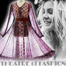 VINTAGE INDIAN DRESS ADINI 70s GAUZE 6 8 10 12 14 16 HIPPY BOHO WEDDING GODDESS