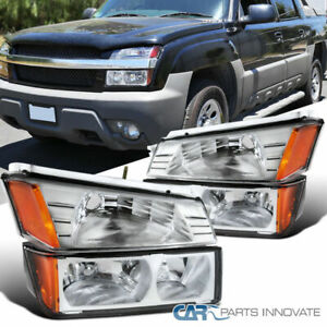 For Chevy 02-06 Avalanche 1500 2500 Pickup Clear Headlights Bumper Turn Signal