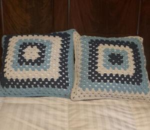 "Vintage Crochet Granny Square Pair 2 Hippie Throw Pillow Blue Aqua Cream 18"""