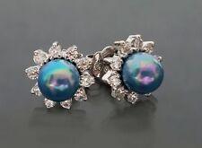 925 Silber Orquidea Ohrstecker, Mallorca-Perlen Blau, Hochzeit (60223A)