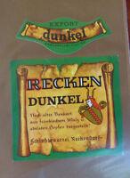 VINTAGE GERMAN BEER LABEL - SCHLOBBRAUREI RECKEN DUNKEL