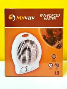 MYVAY Electric Heater 2KW Portable Fan Upright Hot & Cold Settings Thermostat UK