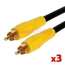 3x 6 FT Premium RCA Digital Coax Coaxial RG59/U Audio Video Cable Subwoofer Cord