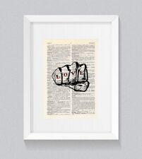 Love Hate Puño Tatuaje Dedo Nudillo Vintage Arte de la pared de impresión de libro diccionario