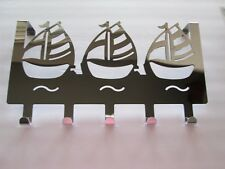 Chrome plated Nautical Sailboat over the door hanger with 5 hooks