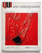 Alberto Burri cover Qui arte contemporanea n. 15/1975 Roma Rivista trmestrale