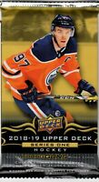 1- 2018-19 UPPER DECK SERIES 1 NHL YOUNG GUNS RC HOT PACKS Elias Pettersson !?