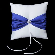 Royal blu + Bianco Satin bowknot festa di nozze Pocket anello del cuscino C O4S7