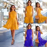 Fashion Women Summer Pleated Dress Women's Sleeveless Beach Party Casual Dress