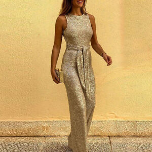 Women's Glitter Lace Up Slim Romper Sleeveless Jumpsuits Sequin Overall Backless