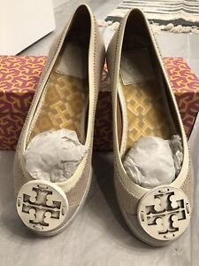 Tory Burch Channing Flat Women's Tweed Casual Round Toe Khaki 250 Size 6