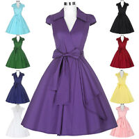 Women Vintage Retro Party Evening Dress Swing Prom Cocktail 1950s Classic V-Neck