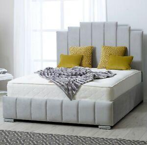 New Luxury Art Deco Bed Plush Velvet Chesterfield Bed Upholstered Bed Frames