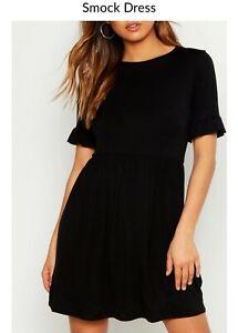 Black Boohoo Smock Dress Size 12