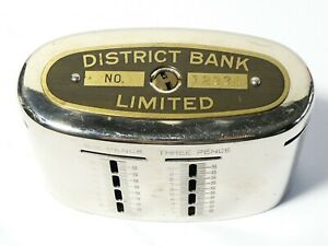 1921 District Bank Ltd. Personal Metal Moneybox No. 12334 L.S.D.