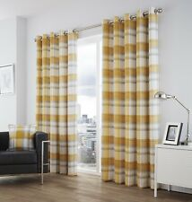 """Fusion - Balmoral Check - 100 Cotton Ready Made Lined Eyelet Curtains - 66"""""""" X X"""