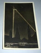 Old Post Card ' The Raider ' Zeppelin Caught In Searchlights.