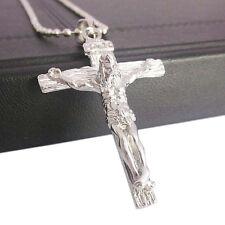 Men's Christian Stainless Steel Jesus on Cross Pendant Beaded Chain Necklace Sol