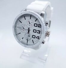 Vive Herren Xxl  Uhr Armbanduhr Weiß/ Silber Neu Top