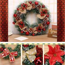40cm Christmas Wreath Front Door Ornament Wall Artificial Pinecone Garland