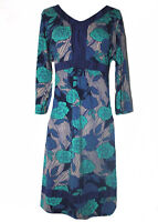 Ex Per Una Marks and Spencer Blue Cotton Floral Tea Dress with Tie Back (P32)