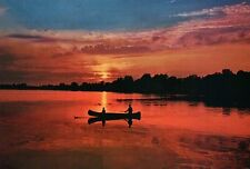 A Lake Scene in Michigan, Sunset, Canoe Ride - Canoeing, Water & Boat - Postcard