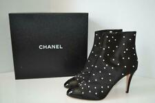 NIB Chanel 18C Black Satin Pearl Studded Ankle Boots/Booties/Shoes 41.5 $1250