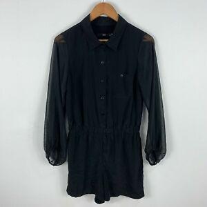 Sportsgirl Playsuit Romper Womens Size 8 Black Long Sleeve Sheer Collared 59.33