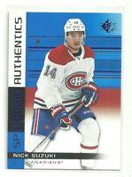 2019/20 Upper Deck SP Nick Suzuki Montreal Canadiens Rookie Authentics Blue