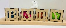 BABY 4 x Cubes 10cm each Ideal for Baby showers nursery decoration etc