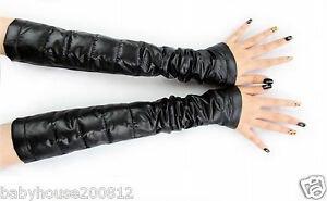 Woman's shiny soft nylon down arm cuff cover protection sleeves wet-look warmers